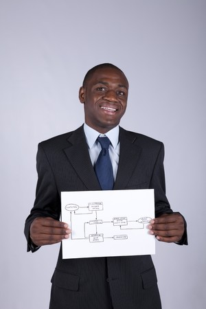 Happy african businessman showing a online order diagram photo