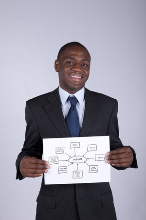african businessman holding a website shema solution photo