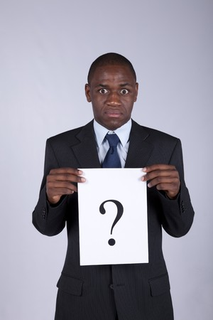 African businessman with a big question Stock Photo - 7810720
