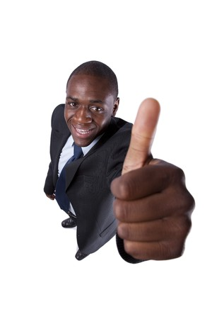 African businessman gesturing OK  (isolated on white) photo