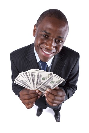 Successful and wealthy african businessman showing you money (isolated on white) photo