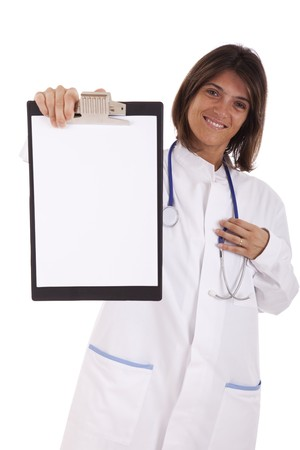 friendly woman doctor showing a blank paper in a  clipboard (isolated on white) photo