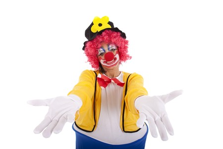 fair hair: Funny clown with arms open (isolated on white) Stock Photo