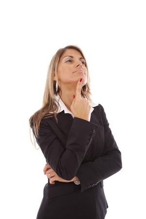 mujeres pensando: Empresaria con los brazos cruzados (aislado en blanco)