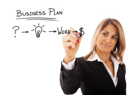 Businesswoman with a strategy plan to be successful in her business photo
