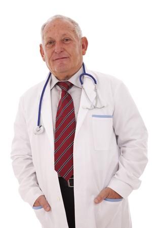 expertise doctor older man (isolated on white) photo