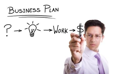 plan van aanpak: Zaken man met een strategisch plan succesvol te zijn in zijn bedrijf