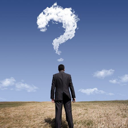 blue sky thinking: businessman standing alone at the field with a lot of questions in his mind Stock Photo