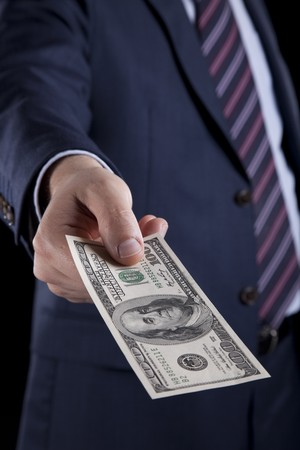 businessman giving money photo