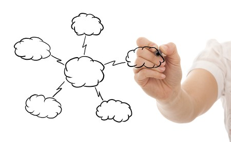 Hand drawing a Cloud Computing schema on the whiteboard (selective focus) Stock Photo - 8027382
