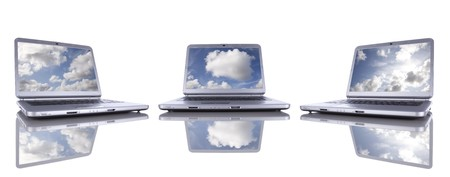 Cloud computing concept in three modern laptop isolated on white photo