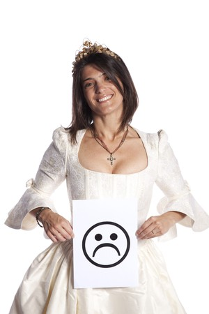 untrustworthy: Happy bride holding a sad symbol face (isolated on white)