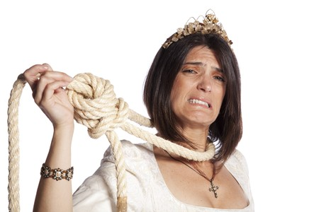 terrified woman: Sad beautiful bride with a hanging rope (isolated on white)