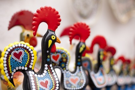 capon: Many traditional ceramic from Portugal, named Cork of Barcelos (shallow DOF) Stock Photo