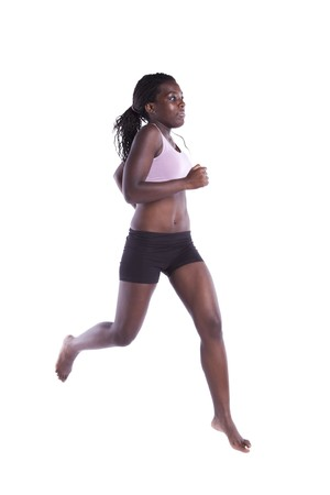 young african woman running with barefoot (motion blur on some movement) photo