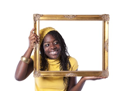 look inside: young beautiful african woman inside an antique picture frame (isolated on white) Stock Photo