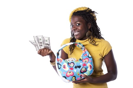 young african woman showing money from her wallet (isolated on white) photo