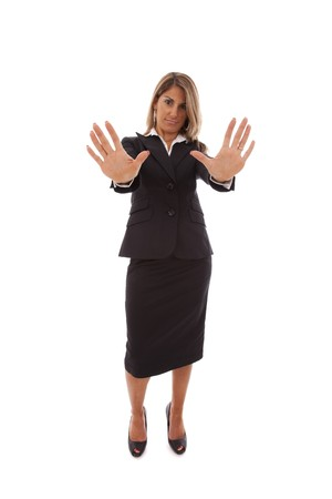 businesswoman order you to stop (isolated on white) photo