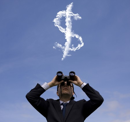 one dollar: Businessman looking through binoculars to a dollar sign at the sky