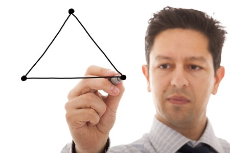 businessman drawing a diagram with the balance between three sides from a triangle (copy space to write on the triangle sides) photo