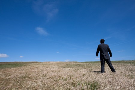 standing alone: businessman standing alone at the field