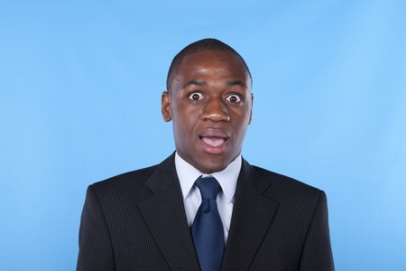 african businessman with a surprised expression photo
