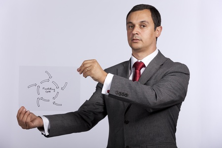 mature businessman holding a marketing cycle diagram solution photo