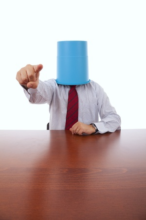 businessman at his office with a bucket on his head Stock Photo - 8651907