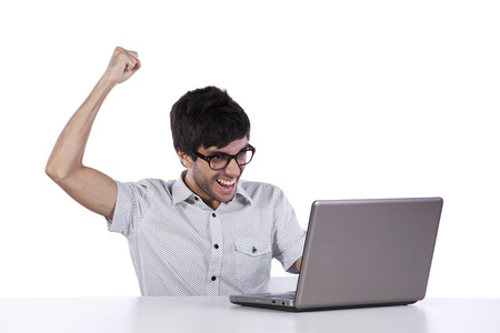 young modern businessman excited with his success with his laptop computer Stock Photo - 8651828