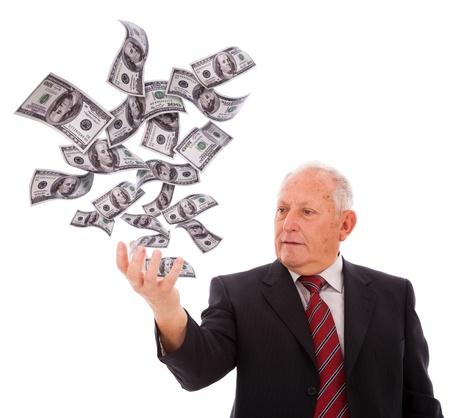 money flying: hombre de negocios con dinero con su mano (aislado en blanco)