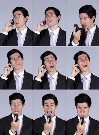 Multiple images of a businessman face expression while talking on his cellular (isolated on gray) photo