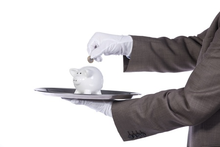 businessman showing you a finance solution photo
