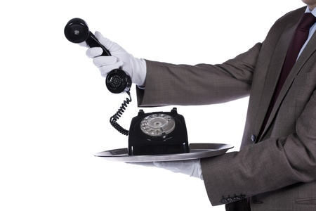 businessman showing you a communication solution photo