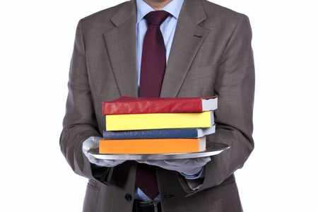 businessman showing you a education solution photo