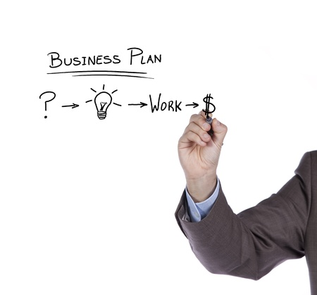 Businessman with a strategy plan to be successful in her business photo
