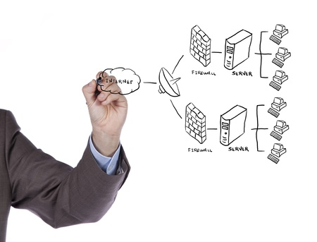 hand drawing a security plan for a firewall system (selective focus) Stock Photo