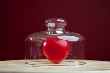 Red heart inside a glass dome (selective focus) Stock Photo - 9285835