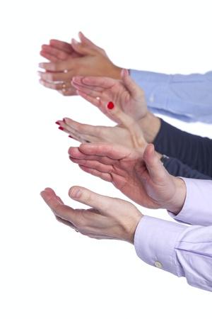 manos aplaudiendo: Equipo de negocios Palmas de manos (enfoque selectivo) Foto de archivo