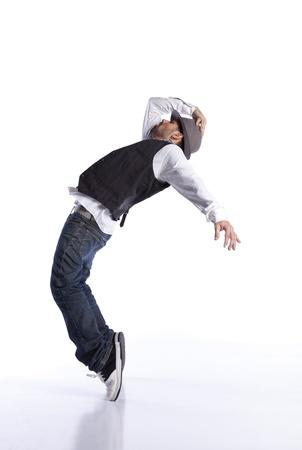 bailarin hombre: Bailar�n de hip-hop mostrando algunos movimientos Foto de archivo
