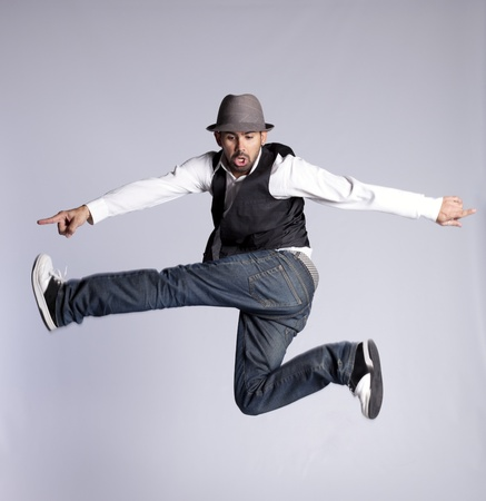 Hip hop dancer showing some movements photo