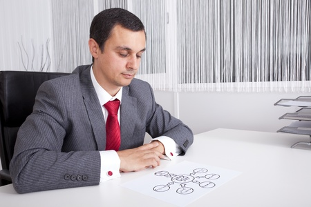 mature businessman looking to a e-mail marketing diagram solution photo