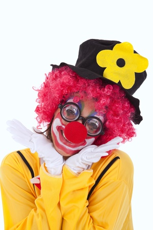 happy funny clown smiling (isolated on white) photo