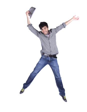 jumpers: Young man jumping isolated on white (some motion blur)