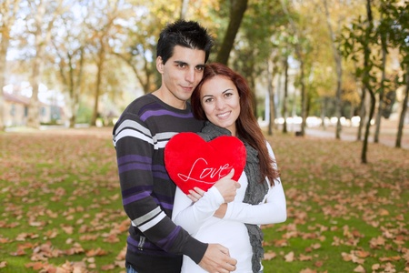 love park: Love and affection between a young couple at valentine day (selective focus with shallow DOF) Stock Photo
