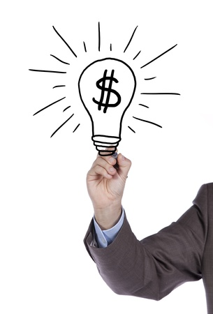 Businessman hand drawing and idea for making money on the whiteboard (selective focus) Stock Photo - 10029708