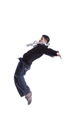 hombre cayendose: Hip hop bailarina mostrando algunos movimientos (aislado en blanco)