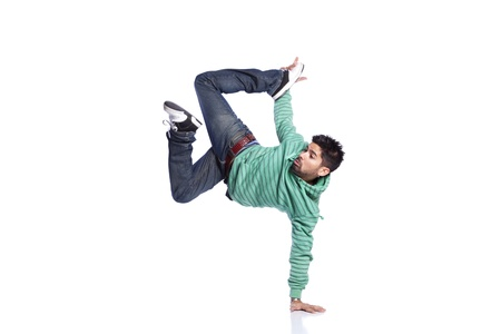 Hip hop dancer showing some movements (isolated on white) photo