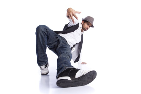 Hip hop dancer showing some movements (isolated on white) Stock Photo