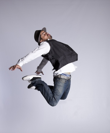 Hip hop dancer showing some movements (some motion blur) photo