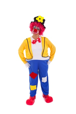 clown circus: Funny circus clown dancing (isolated on white) Stock Photo